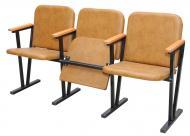 Крісло для актового залу м'ягке (3 місне) 1550х530х830 мм (шкірзам)